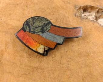 Vintage Brooch - Wood Inlay - Wood Pattern