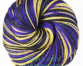 "Dyed to Order: Self striping sock yarn - """"PURPLE - GOLD - BLACK"" - Football yarn - Baseball yarn - School colors yarn - Baltimore"