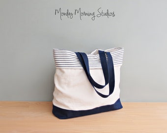 Linen and Waxed Canvas Bridesmaid Tote, Navy Blue Bag Cuffed Top Bag with Striped Cotton Ticking, Large Spring Summer Casual Carryall, USA
