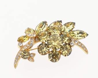Eisenberg Flower Brooch Green Crystal Vintage Signed