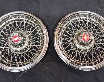 Set 2 Vintage Chevrolet Caprice Wire Wheel Spoke Hubcaps, Norris Industries 1980