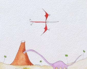 Dinosaurs. Original watercolor. mujerlaberinto. Manu.