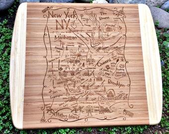 NY Boroughs Map Small Bamboo Cheese Board