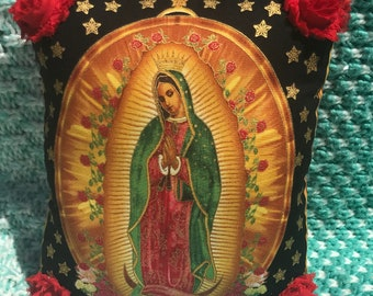 Virgen de Guadalupe VIRGIN MARY PILLOW Black with Red Rosettes