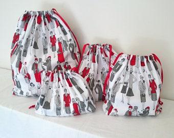 REDUCED! Lady in Red Print Set of 4 Cotton Travel Bags, Laundry Bag, Lingerie Bag, Utility Bag, Shoe Bag or Sock Bag.