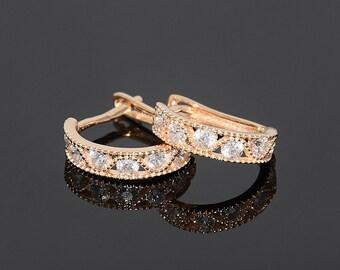 Gold fine earrings, Small earrings, Minimalist earrings, Casual earrings,  Everyday earrings, Simple earrings, Women fine earrings