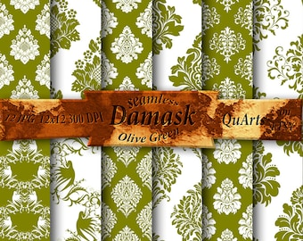 Olive Green Damask Graphics for Scrapbooking - Printable Paper Pack - Instant Download - scrapbook graphics patterns - 12x12 QuartCrafts