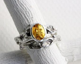 Citrine Leaf Twig Engagement Rings, Silver Twig Ring Set,Citrine Fine Jewelry