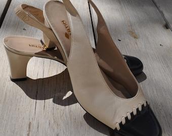 Vintage bicolor leather slingback shoes JB Martin Size 38/38.5 FR (5.5 UK)