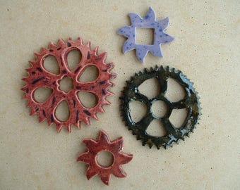 4 gears steampunk ceramic handmade
