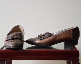 vintage 70's brown Italian leather brogues 36.5