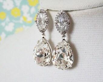 Bertha - Luxe Cubic Zirconia Halo style Marquise Navette Teardrop dangle Silver Bridal Cubic Zirconia earrings, Swarovski Teardrop Crystal