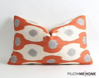 16x24 Uzbek silk ikat pillow cover // orange white and gray pillows // handwoven handdyed pillows