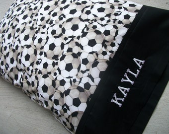 "Personalized Soccer Pillowcase, Standard Size, 20"" x 30"" (Choose your name color!) ***Ready to Ship in 3-5 Days!"
