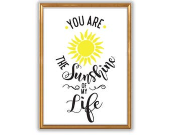You are the sunshine of my life lyrics quote poster. Room Decor,  Stevie Wonder , Wall Art, Typographic Poster, Gift for lover, Valentines