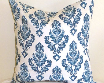 Choose Your Cushion Cover, Blue Accent Pillows - Blue Pillow Cover Cushions - Blue Pillows - Floral Teal Blue Pillow Cover 18 x 18