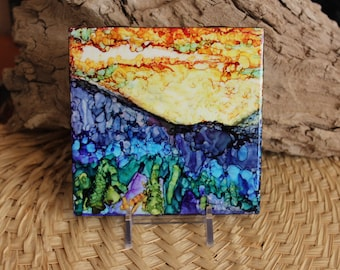Blue Mountain Sunset //  Alcohol Ink Hand Painted Tile // One of a kind // Abstract Art