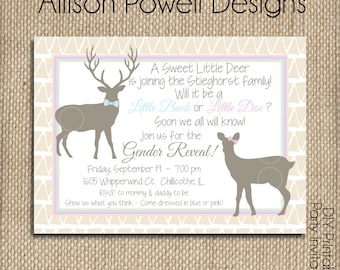 Buck or Doe, Hunting, Deer, Gender Reveal Invitation