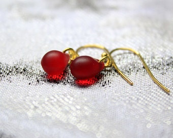 red earrings 14k gold jewelry red dangles simple earrings for women gold red gift for her dainty earrings teardrop jewelry wife gifts пя165