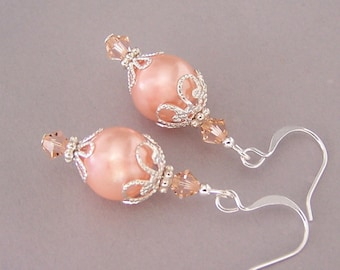 Peach pearl earrings, peach glass pearl earrings with silver filigree, pastel Spring, gift for bridesmaids, pale orange bridal