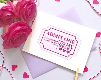 Ticket To My Heart Card – Personalised Anniversary Card – Card for Husband wife –birthday card for husband wife –Christmas card for partner