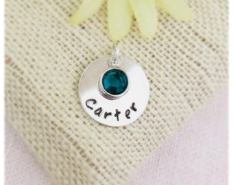 Personalized, Handstamped, Name and Birthstone Sterling Silver charms