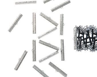 150 pieces  40mm ( 1  9/16 inch ) Platinum Silver Ribbon Clamp End Crimps - Artisan Series
