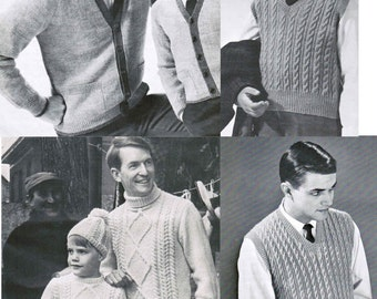 Fathers and Sons Matching knitting patterns (set of 4 patterns) / Knitted Sweaters adults children