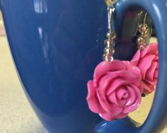 Large Pink Rose Earrings