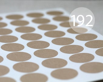 """192 Circle Kraft Stickers - 4 Full Sheets of 1.2"""" Round Labels"""