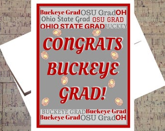 Funny Graduation Card, Ohio State Card, Congrats Grad, Buckeye Card, Graduation Card, OSU Card, Funny Congrats Card, Scarlet And Gray