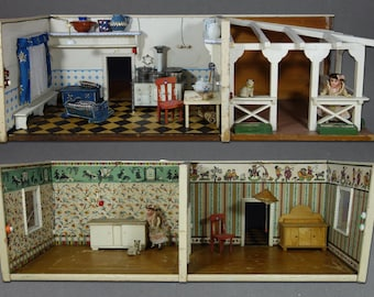 Antique Rare German XXL Double Sided Room Box 4 Rooms Livingroom Bedroom Kitchen Porch Wooden Dollhouse Miniature Original Collector Toy