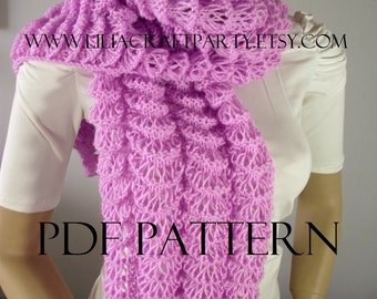 KNITTING PATTERN SCARF - Angel Wings Long Chunky Scarf Cowl - pdf Pattern Instant Download