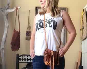 Boho Cross Body Bucket Bag with Fringe