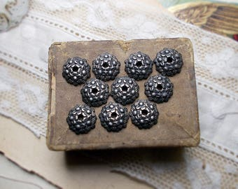 Rustic Oxidized Bead Caps - 10 Dark Patina Silver Tone Bumpy Floral Disc Caps - 10mm - Age Worn Dark Primitive Flowery Beadcaps - weedle