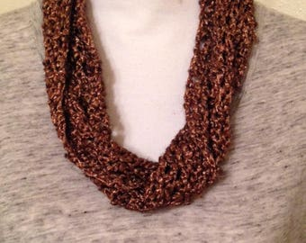 Dark Copper Silk/Wool Infinity Scarf