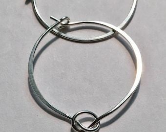 Knotted Silver Hoop Earrings, Simple Earring Hoops Ready to Mail, Gift for Her, FREE SHIPPING