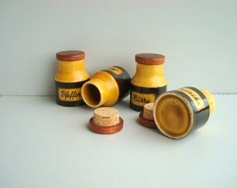 Antique Spice Canisters set of 4,  German ceramic jars, tins containers for spices 1980s