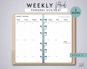 Personal Size 2-Page WEEKLY PLANNER (Vertical Style 1 & 2)- Printable PDF Planner Inserts - Neat Theme
