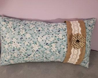 Blue floral pillow-medium