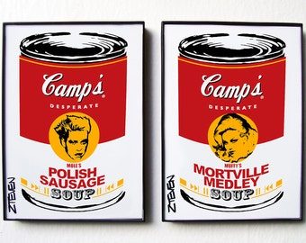 Mole and Muffy from John Waters' Desperate Living POP ART Soup cans, original art set of 2 by Zteven