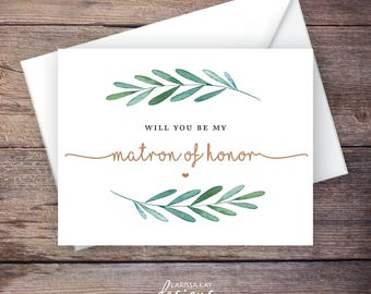 Greenery Will You Be My Matron of Honor Card, Printable, Instant Download Greeting Card, Will You Be My Bridesmaid, Wedding Card - Waverly