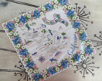 Map Handkerchief California Blue Handkerchief Collectible State Handkerchief Gift for Californian Floral Handkerchief