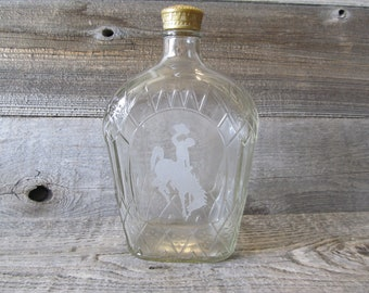 Etched Crown Royal Bottle with Wyoming Bucking Horse, 1 liter