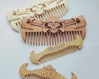 Peigne à barbe en bois pour les hommes, peigne de bois naturel, soin des cheveux, cheveux Massage