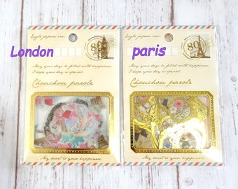 Flakes sticker clear sticker  80  pieces in total 2  different theme to choose London  sweets or Paris Antique