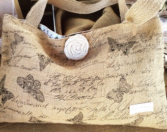 Butterfly burlap tote