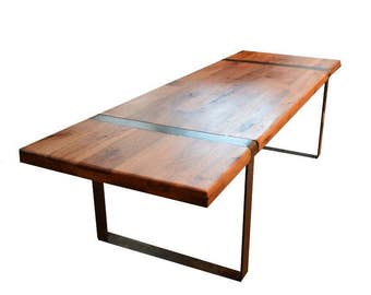 Reclaimed Wood Coffee Table // Flat Steel Legs with Top Insert