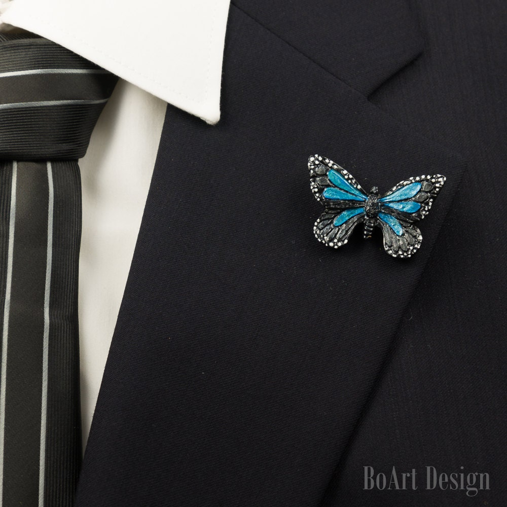 Black/Blue Butterfly Polymer Clay Lapel Pin/Brooch/Mens Lapel
