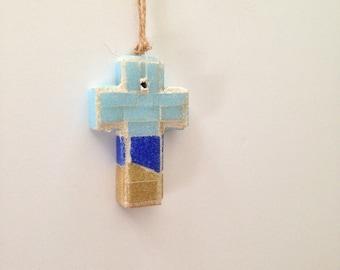 New England Mosaic Wall Cross or Christmas Ornament I